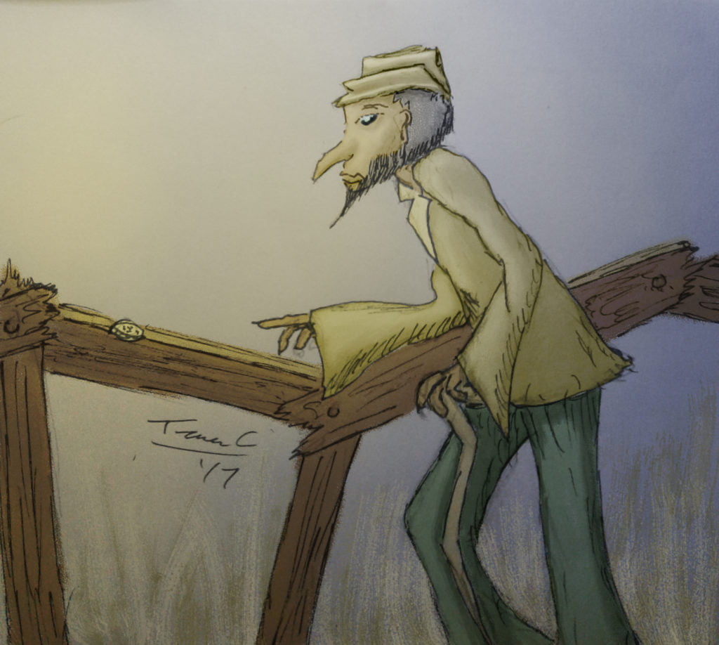 A crooked older gentleman with a crooked walking stick, walking alongside a crooked fence.