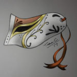 Venetian style mask, white with red and gold and red ties.