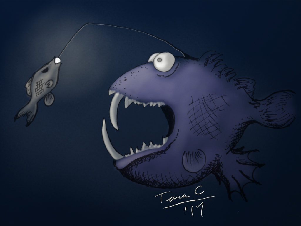 Angler fish which did not catch his prey before his prey caught him - his lure at least.