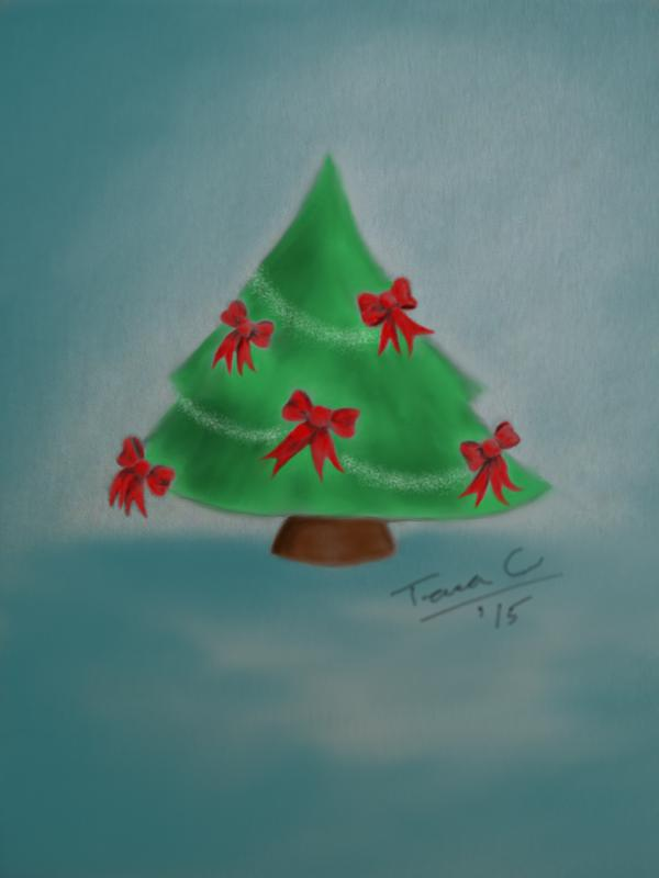 Tree Decorated with Red Bows, digitally painted pencil sketch by artist Tara Crowley, 2015.